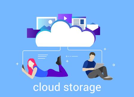 Flat vector illustration. Concept illustration of cloud storage 向量圖像