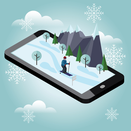 Isometric man skiing. Mobile navigation. Videos and photos keeped in phone memory. Cross country skiing, winter sport. games, recreation lifestyle, activity speed extreme 일러스트