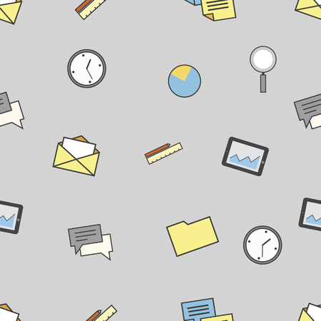Set of business and finance icons. Seamless pattern background Çizim