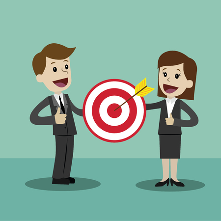 Businessman and businesswoman pointing to the big target. Vector, illustration, flat