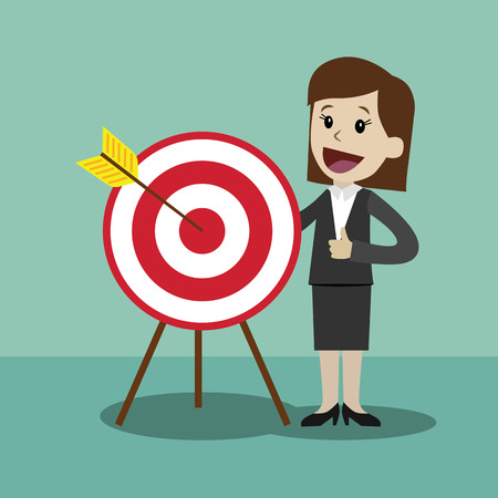 Businesswoman pointing to the big target. Vector, illustration, flat