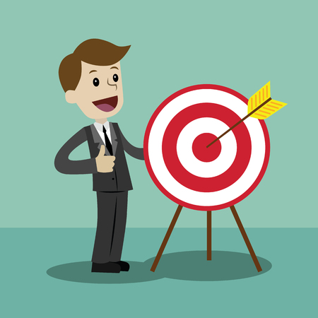 Businessman pointing to the big target. Vector, illustration, flat