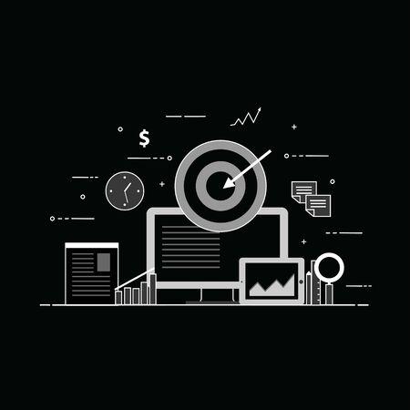Concept for digital marketing. Web and mobile developing. Illustration