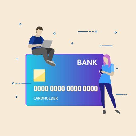 Flat vector illustration. Internet banking concept.