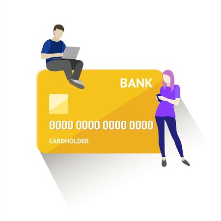 Flat vector illustration of mobile banking concept. Using a smartphone for operations with bank cards and accounts. Illustration