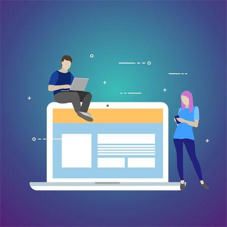 Flat vector illustration. Concept illustration of chating 向量圖像