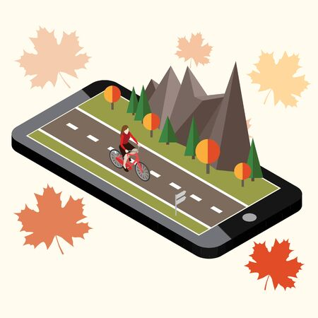 Isometric countryside. Autumn road. Mobile geo tracking. Map. Woman cycling on countryside autumn sunny road or highway