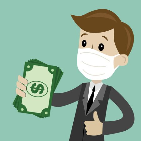 Business and finance. Flat style vector illustration clipart. Preventive measures, human protection from pneumonia outbreak. Ilustración de vector
