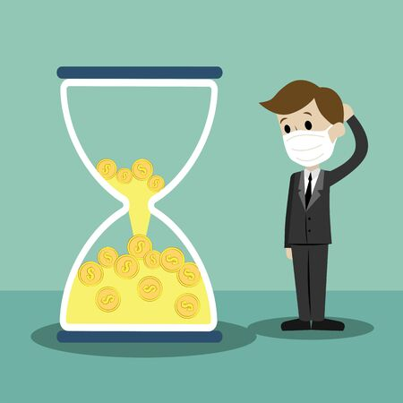 Time is money. Money in sandglass. Businessman lose his money losing time. Preventive measures, human protection from pneumonia outbreak. Remote work. Illustration