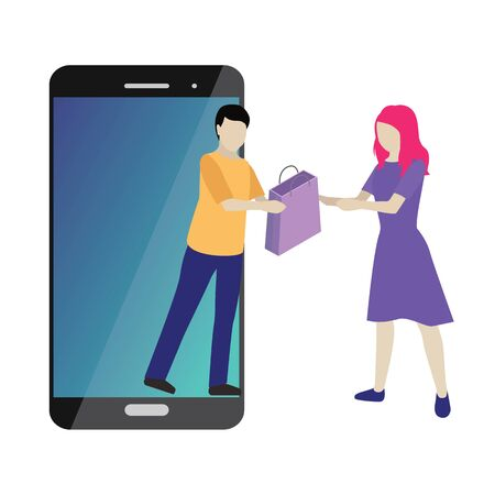 Online mobile shop store delivery shopping concept. Illustration