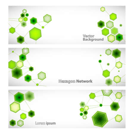 linked: Three vector banner with abstract green linked hexagons. Vector illustration