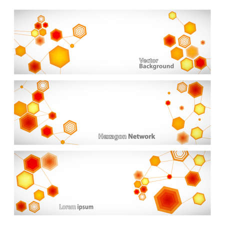linked: Three vector banner with abstract orange linked hexagons. Vector illustration