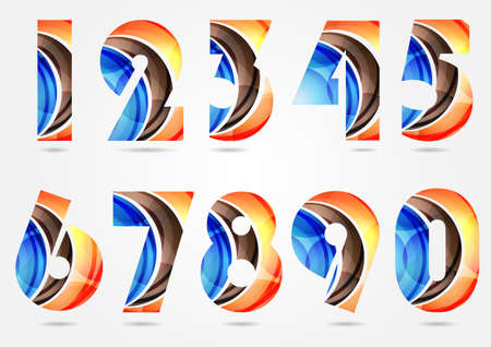 numbers abstract: Collection of numbers logos design elements. Business abstract symbol set, flowing overlapping shapes design. Vector illustration