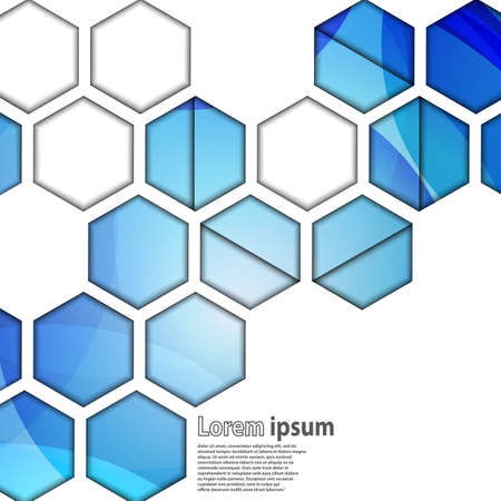 plastic backdrop: Bright blue hexagon geometrical abstract background. Vector illustration Illustration