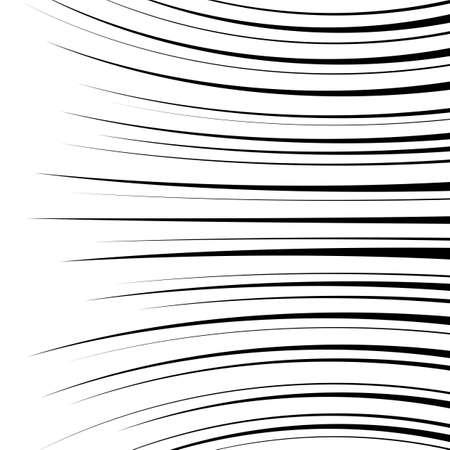 lineas horizontales: Comic líneas de velocidad curvas horizontales de fondo. Ilustración vectorial