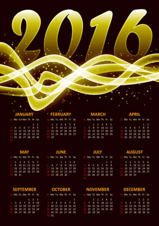 plazma: Calendar for 2016 on gold plazma background with abstract glittering sparkling waves.Vector illustration
