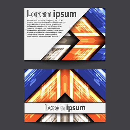 blue arrow: Business Card Design Neon grey orange blue arrow. Vector illustration