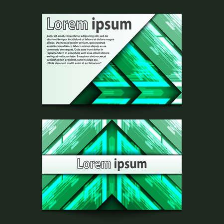 ide: Business Card Design Neon green arrow. Vector illustration