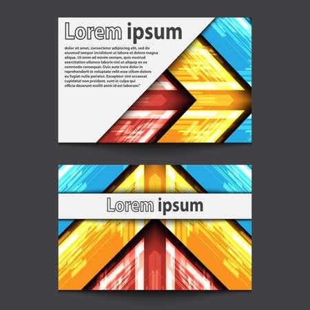 ide: Business Card Design Neon red yellow blue arrow. Vector illustration Illustration