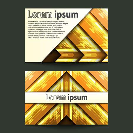 ide: Business Card Design Neon gold arrow. Vector illustration