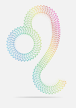 linked: Linked Multicolor Zodiac Leo. Vector illustration