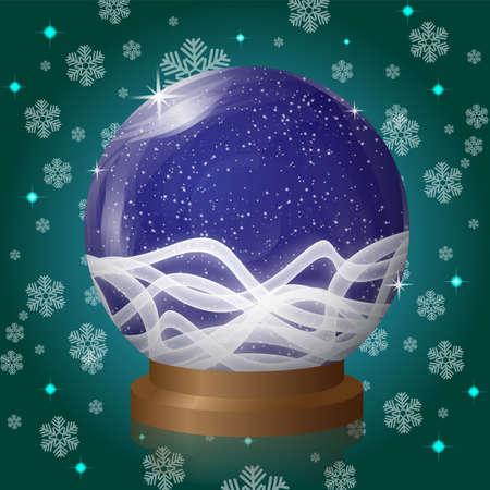 blizzards: Blue empty snow globe with blizzard retro design. Vector Illustration