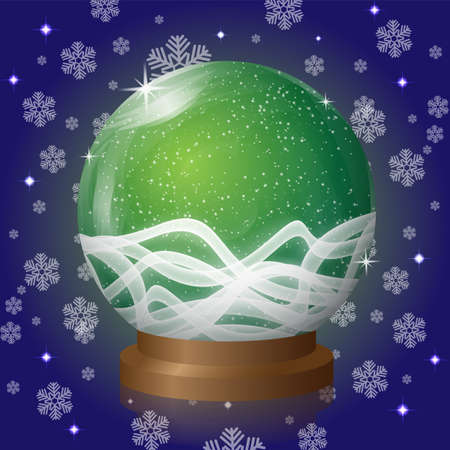 blizzard: Green empty snow globe with blizzard retro design. Vector Illustration Illustration