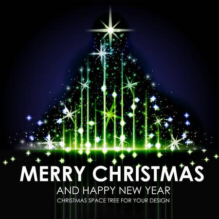 nigth: Green blue Space Shining Christmas tree design. Vector Illustration Illustration