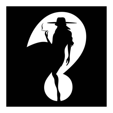 cigar smoking woman: Question mark smoking woman silhouette symbol isolated on white. Vector Illustration