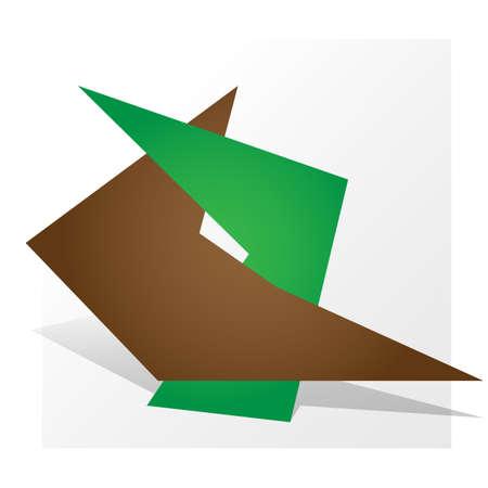 green brown: Dual symbol  parthnership paper design green brown. Vector Illustration