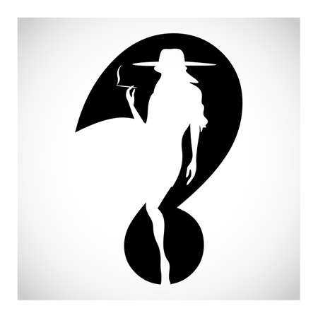 cigar smoking woman: Question mark smoking woman silhouette symbol isolated on black. Vector Illustration Illustration