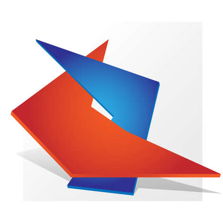 dual: Dual symbol  parthnership paper design red blue. Vector Illustration