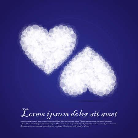 sentimental: Twin Hearts cluods valentine sentimental blue abstract background. Vector Illustration Illustration