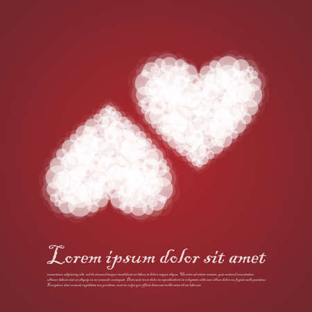 sentimental: Twin Hearts cluods valentine sentimental red abstract background. Vector Illustration