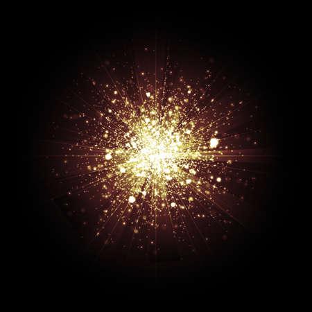 lensflare: Gold glitter particles background effect Star dust sparks in explosion on black background. Illustration