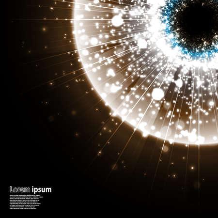 gaze: Grey galaxy explosion on black background. Illustration