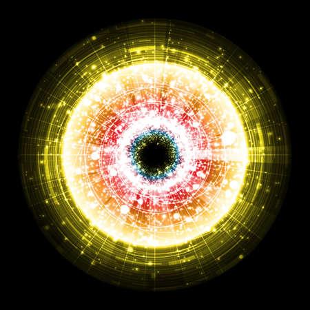 Yellow technology explosion on black background. Illustration Illustration