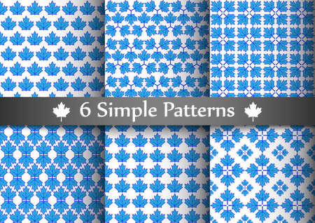 Set of six seemless patterns with blue maple leafs. Illustration