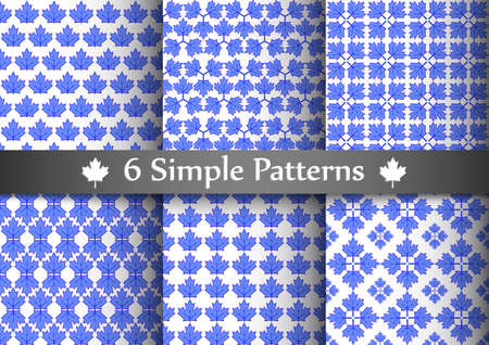 Set of six seemless patterns with blue transparent maple leafs. Illustration