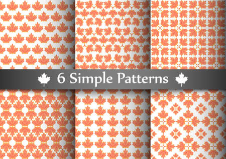 Set of six seemless patterns with red transparent maple leafs.  Illustration