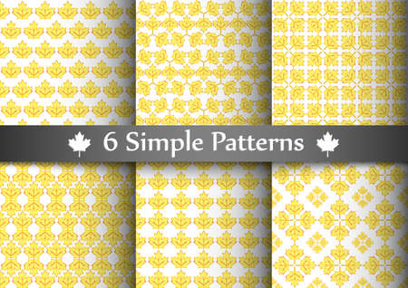 Set of six seemless patterns with yellow transparent maple leafs. Illustration