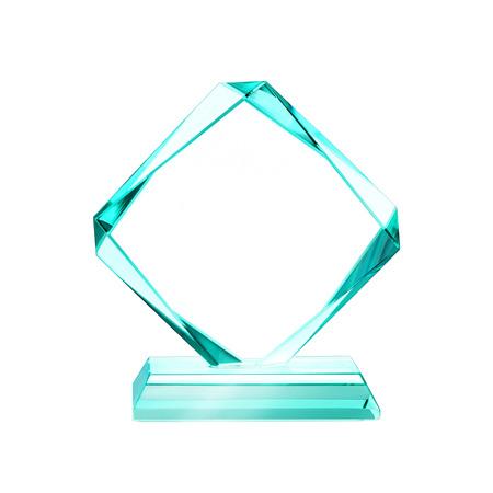 trofeo: blanco cristalino para la adjudicación aislado en un fondo blanco con un trazado de recorte