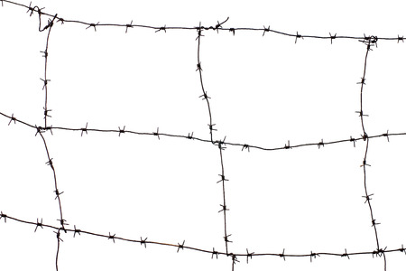 barb wire isolated: Frame of old rusty barb wire isolated on white background