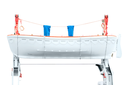 lifeboat: White lifeboat on the red davit isolated on white with clipping path