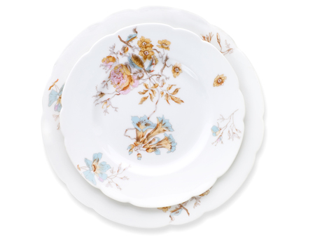antique factory: Antique decorated porcelain plates isolated on white with clipping path. Porcelain factory of Kornilov brothers, end of 19th century, St Petersburg. New rococo, decal