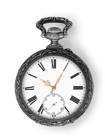 hands on pocket: Ancient silver pocket watch with golden hands isolated on white with clipping path