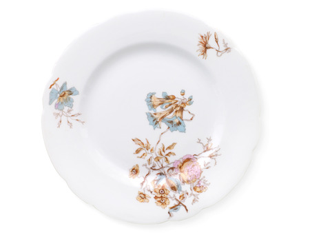 antique factory: Antique decorated porcelain plates isolated on white with clipping path. Porcelain factory of Kornilov brothers, end of 19th century, St Petersburg, Russia. New rococo, decal Stock Photo