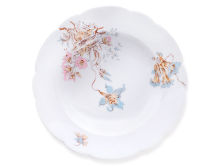 delftware: Ancient ornate porcelain soup plates isolated on white with clipping pah. End of 19th century, Kornilov brothers factory, St Petersburg, Russia