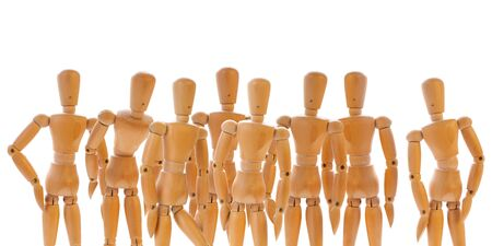 witnesses: Group of wooden dummies isolated on white. Concept of the spectators, witnesses, community, team