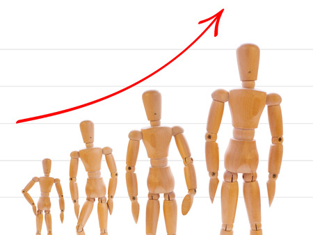 short order: Growth of wooden mans on white with graph. Concept of career, growth and evolution